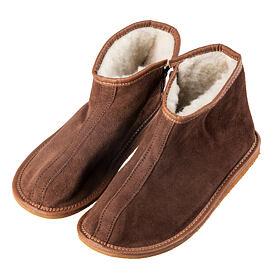 9286e304a2cc4 Členkové kožené papuče s ovčou vlnou bočný zips